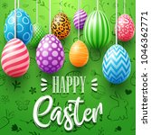 colorful easter eggs decorated... | Shutterstock .eps vector #1046362771