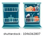 open dishwasher with dishes.... | Shutterstock .eps vector #1046362807