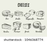 hand drawn sketch cheese types... | Shutterstock .eps vector #1046368774