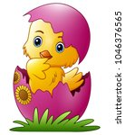 cute little cartoon chick... | Shutterstock .eps vector #1046376565