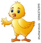 cute little baby chick waving... | Shutterstock .eps vector #1046376595