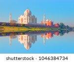 taj mahal monument reflecting... | Shutterstock . vector #1046384734