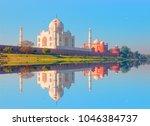 taj mahal monument reflecting... | Shutterstock . vector #1046384737