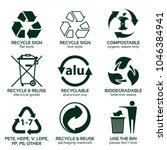 flat icon set for green eco... | Shutterstock .eps vector #1046384941