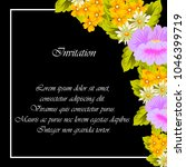 flower frame on black... | Shutterstock .eps vector #1046399719