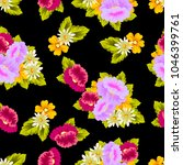 beautiful floral seamless... | Shutterstock .eps vector #1046399761