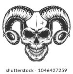 skull with horns isolated on... | Shutterstock .eps vector #1046427259