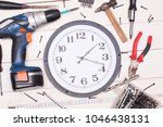 construction tooling on wooden... | Shutterstock . vector #1046438131