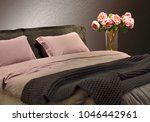 bedroom interior  pink pillows... | Shutterstock . vector #1046442961