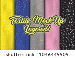 set of layered fabric mockup.... | Shutterstock .eps vector #1046449909
