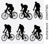 mountain bikers silhouette.... | Shutterstock .eps vector #104647481