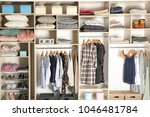 large wardrobe closet with... | Shutterstock . vector #1046481784
