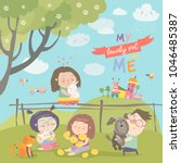 happy children with pets | Shutterstock .eps vector #1046485387