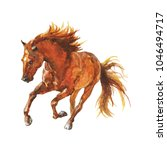 Watercolor Brown Horse Runs...