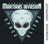 alien face tee stump  humanoid... | Shutterstock .eps vector #1046496124