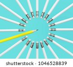 yellow pencil extract out from... | Shutterstock . vector #1046528839