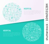 hospital concept in circle with ... | Shutterstock .eps vector #1046531284