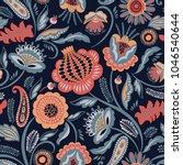 folk floral seamless pattern.... | Shutterstock .eps vector #1046540644