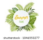 round tropical frame  template... | Shutterstock . vector #1046553277