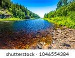 forest river landscape. summer...   Shutterstock . vector #1046554384