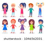 smiling kids set of boys and... | Shutterstock .eps vector #1046562031