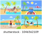 freelance workers at beach near ... | Shutterstock .eps vector #1046562109