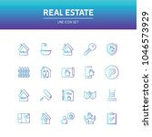 real estate line icons | Shutterstock .eps vector #1046573929