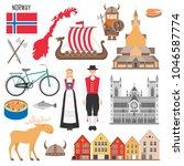 set with norwegian symbols ... | Shutterstock .eps vector #1046587774