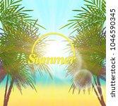 palm leaves frame. retro vector ... | Shutterstock .eps vector #1046590345