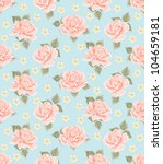Stock vector seamless wallpaper pattern with roses vintage background 104659181