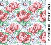 rose and chamomile flower hand... | Shutterstock .eps vector #1046594815