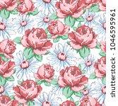 rose and chamomile flower hand... | Shutterstock .eps vector #1046595961
