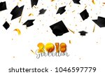 graduate caps and confetti on a ... | Shutterstock .eps vector #1046597779