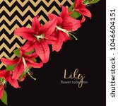wedding invitation with lily... | Shutterstock .eps vector #1046604151