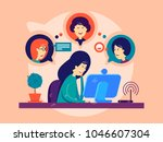 girl remotely communicates with ...   Shutterstock .eps vector #1046607304