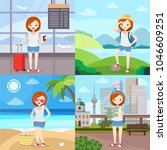 girl in vacation   young woman... | Shutterstock .eps vector #1046609251