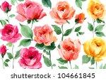 flowers hand painted...   Shutterstock . vector #104661845