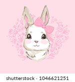 hand drawn vector rabbit  cute...   Shutterstock .eps vector #1046621251