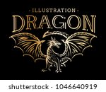 gold vector dragon illustration ... | Shutterstock .eps vector #1046640919