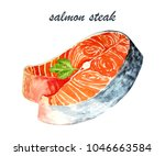 salmon and shrimp painted with... | Shutterstock . vector #1046663584
