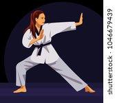 girl in white kimono doing...   Shutterstock .eps vector #1046679439