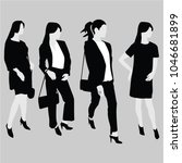vector four womens silhouettes... | Shutterstock .eps vector #1046681899