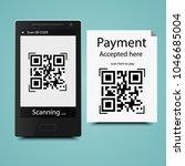 mobile scan qr code on paper...   Shutterstock .eps vector #1046685004