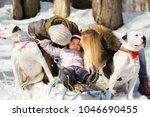 little girl sits on the sledge...   Shutterstock . vector #1046690455