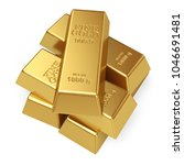stack of gold bars isolated on... | Shutterstock . vector #1046691481