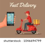 fast and free delivery. cartoon ... | Shutterstock . vector #1046694799