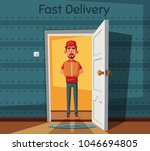 delivery guy handing a box on... | Shutterstock . vector #1046694805