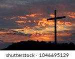 Small photo of Crucifixion Of Jesus Christ - Cross At Sunrise on resurrection sunday.Good friday and Easter concept.