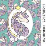 cute magical unicorn head... | Shutterstock .eps vector #1046705044