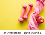 pink womanly dumbbells  towel... | Shutterstock . vector #1046705461